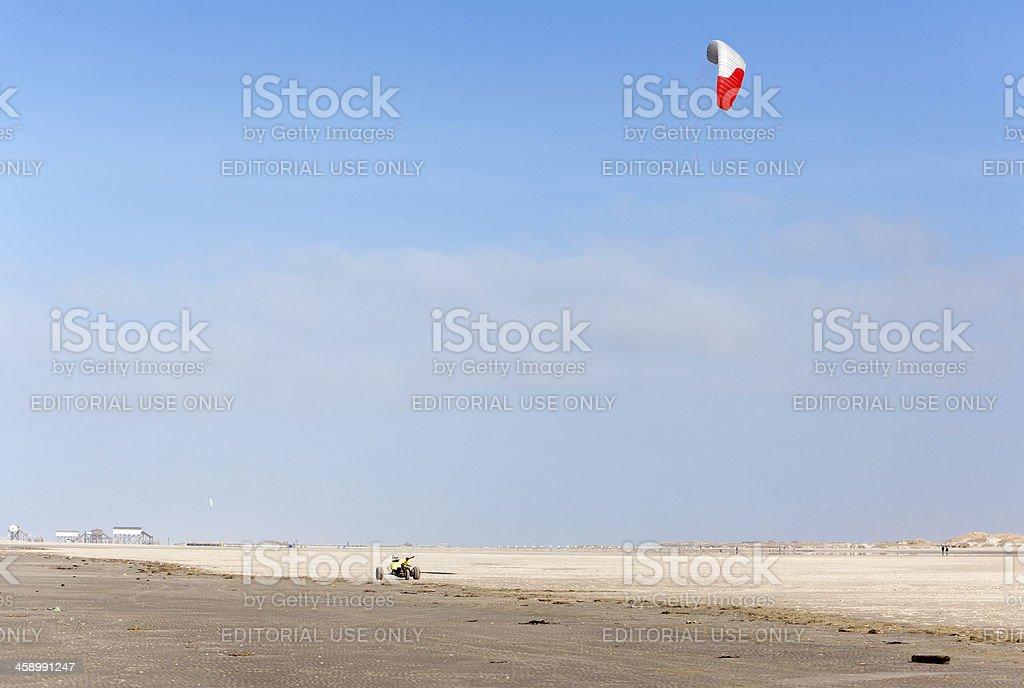 Kitebuggy at the beach, Sankt Peter-Ording, Germany royalty-free stock photo
