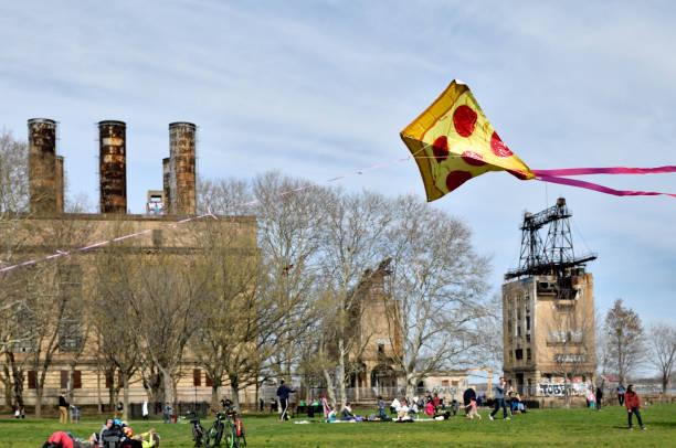 Kitefestival at Delaware River banks in Philadelphia, PA stock photo