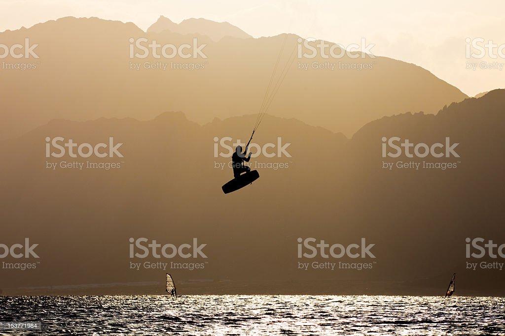 Kiter jump stock photo