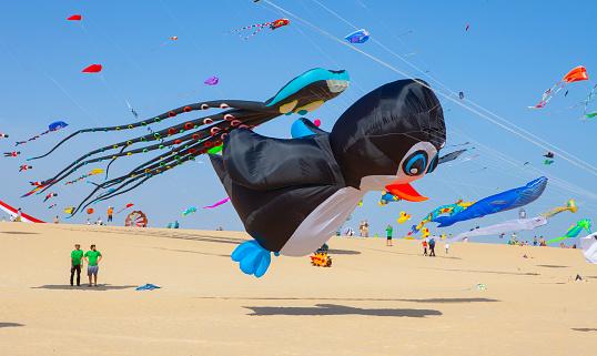 Kites flying at the International Kite Festival in Fuerteventura