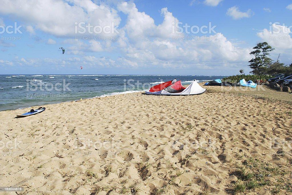Kites on Kapaa Beach in Kauai, Hawaii. stock photo