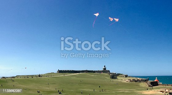 Kites fly over the Castillo San Felipe del Morro, in the old city in San Juan, Puerto Rico
