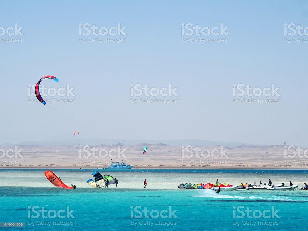 Kitesurf camp stock photo