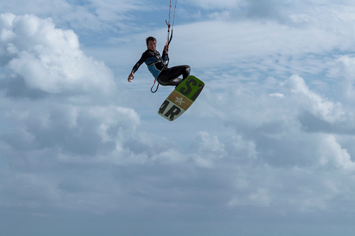 Kitesurf practice in the Caribbean