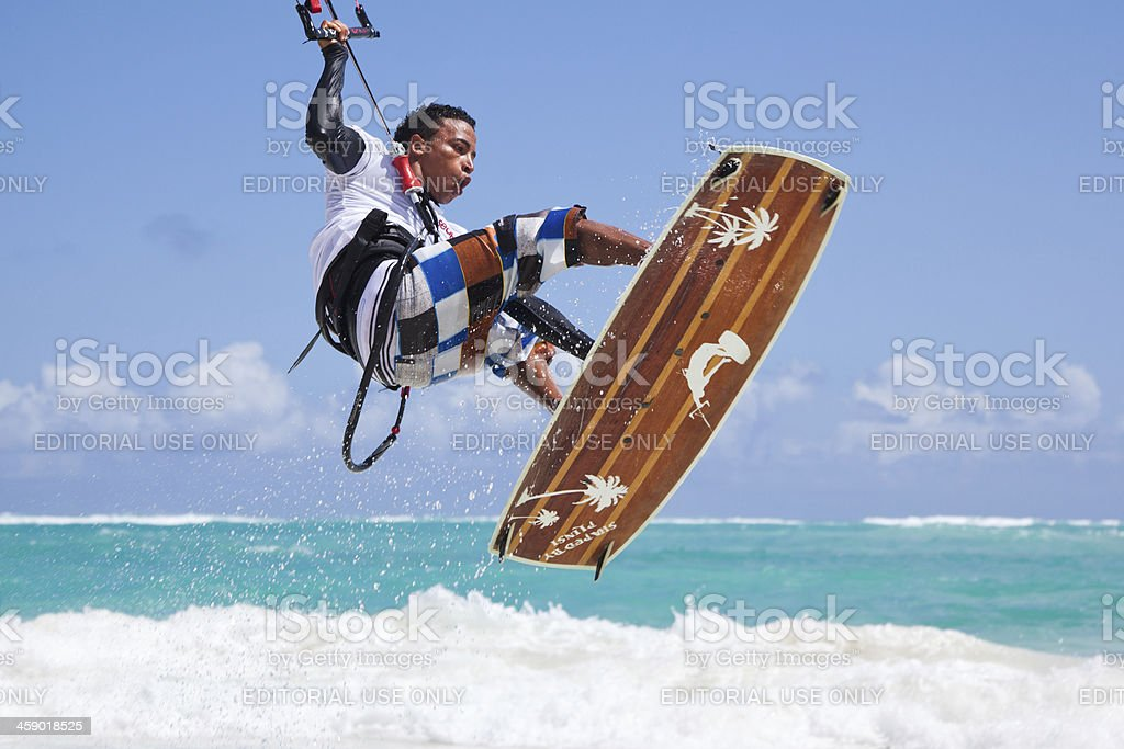 Kitesurfer at the coast of Dominican Republic royalty-free stock photo