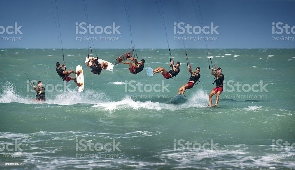 Kitesurfer Back Roll / Loop Sequence stock photo