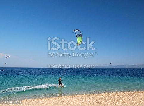 Golden Horn Beach, Brac island, Croatia - June 23rd 2012: Kite surfer in action, famous surf and beach resort in Dalmatia, Croatia.