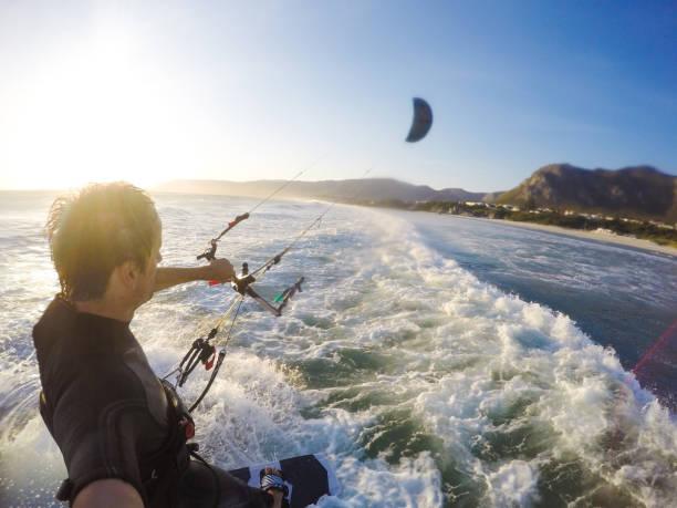 Kitesurfer in Hermanus, South Africa stock photo