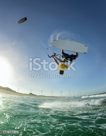 Professional kite surfer doing a loop. Nikon D800e. Converted from RAW.