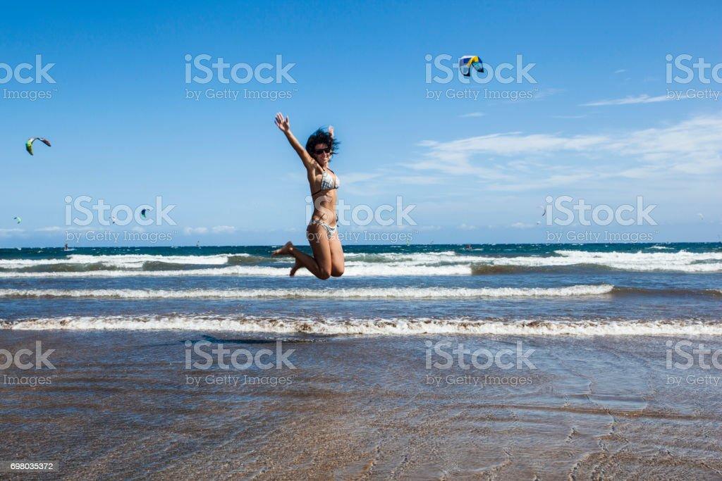 Kitesurfers beach stock photo