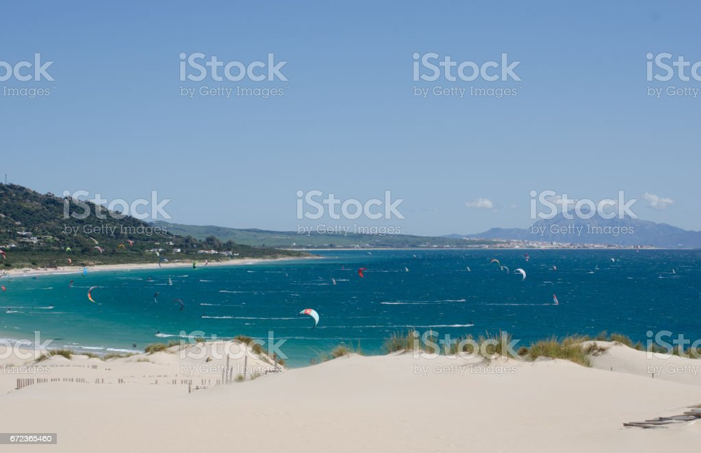 Kitesurfers off Valdevaqueros beach near Tarifa, Spain – Foto