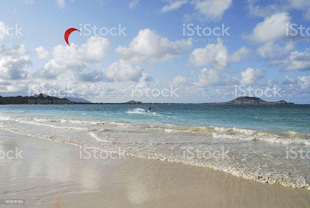 Kitesurfing at Kailua Bay, Hawaii royalty-free stock photo