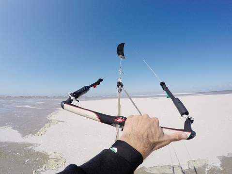 Kitesurfing at North sea of St.Peter-Ording, Germany, GoPro image