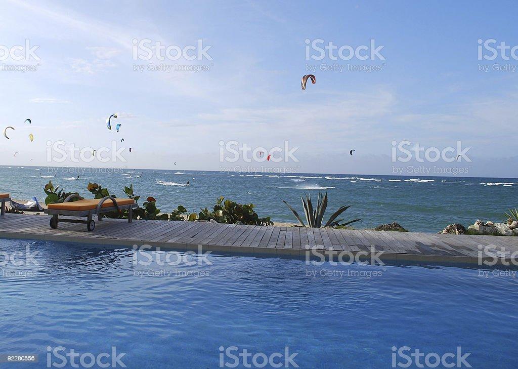 Kitesurfing in Cabarete, Dominican Republic royalty-free stock photo
