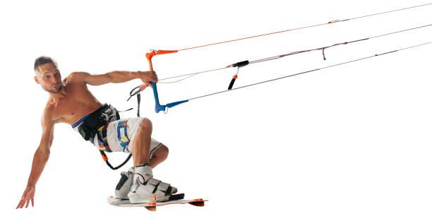 kitesurfen, isoliert auf weiss - digital surfer stock-fotos und bilder
