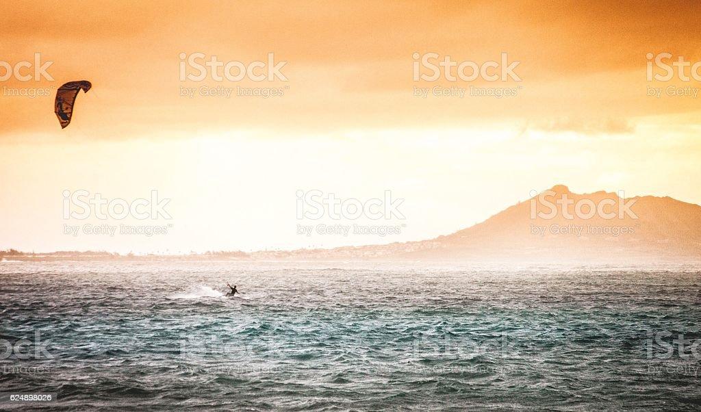 Kitesurfing Kailua Beach stock photo