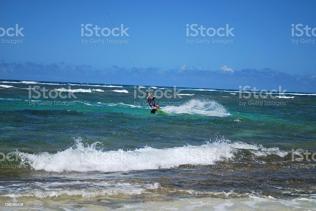 Kitesurfing on Mokuleia Beach, North Shore of Oahu stock photo