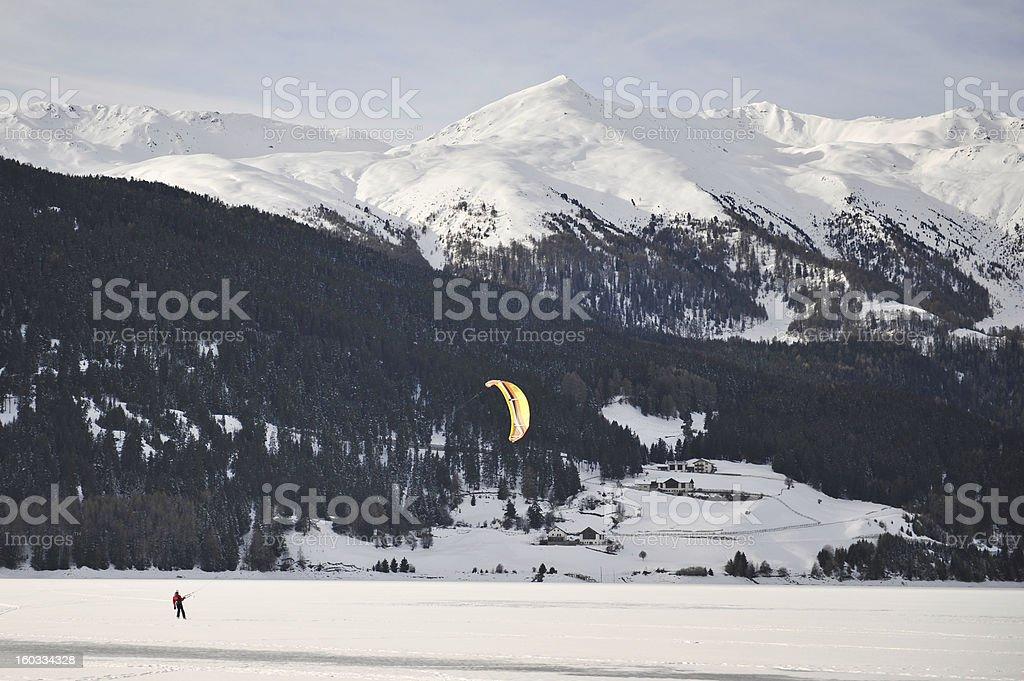 Kitesurfing on the snow royalty-free stock photo