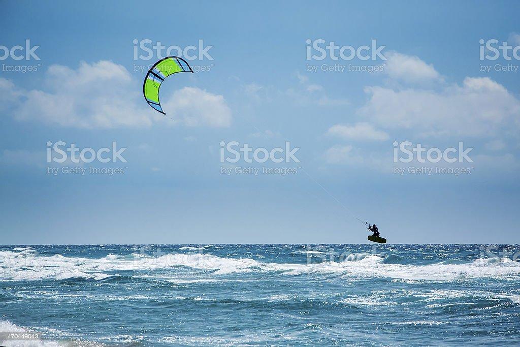 Kitesurfing or Kiteboarding royalty-free stock photo