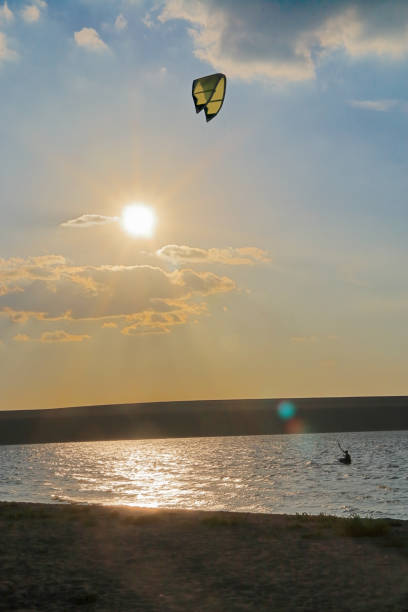 Kitesurfing training.
