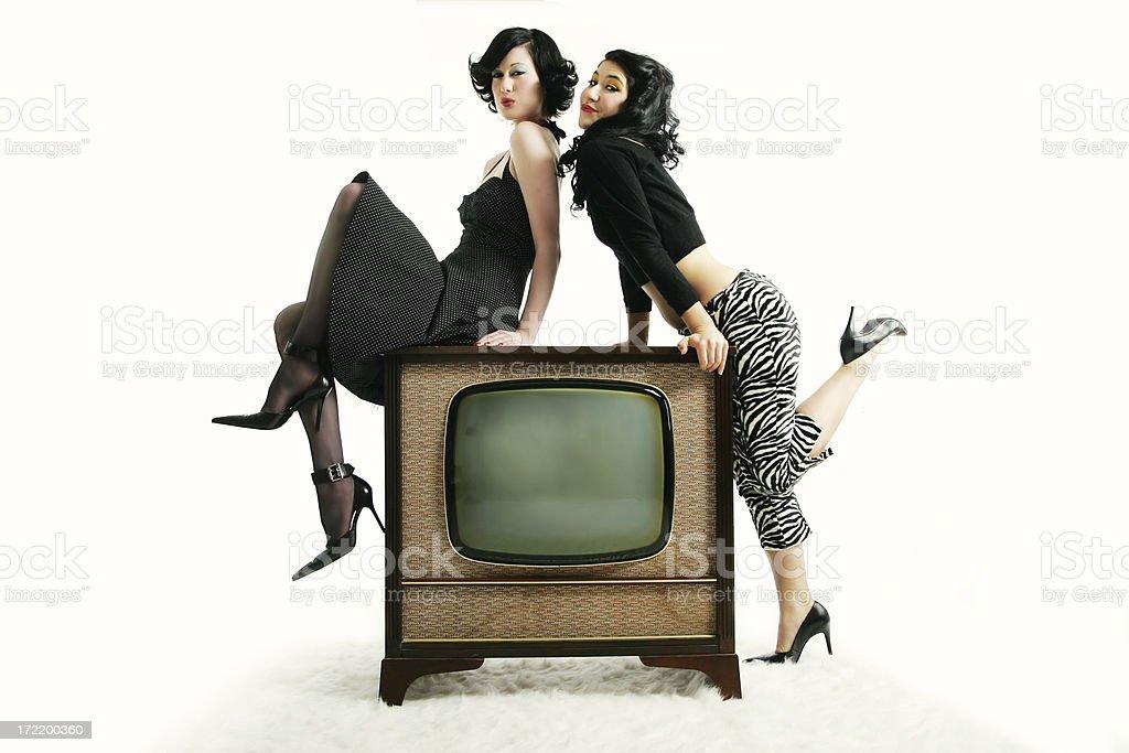 Kitsch serie : Women and Retro Tv royalty-free stock photo