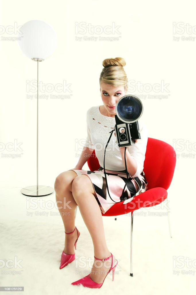 Kitsch series: Retro style woman... royalty-free stock photo
