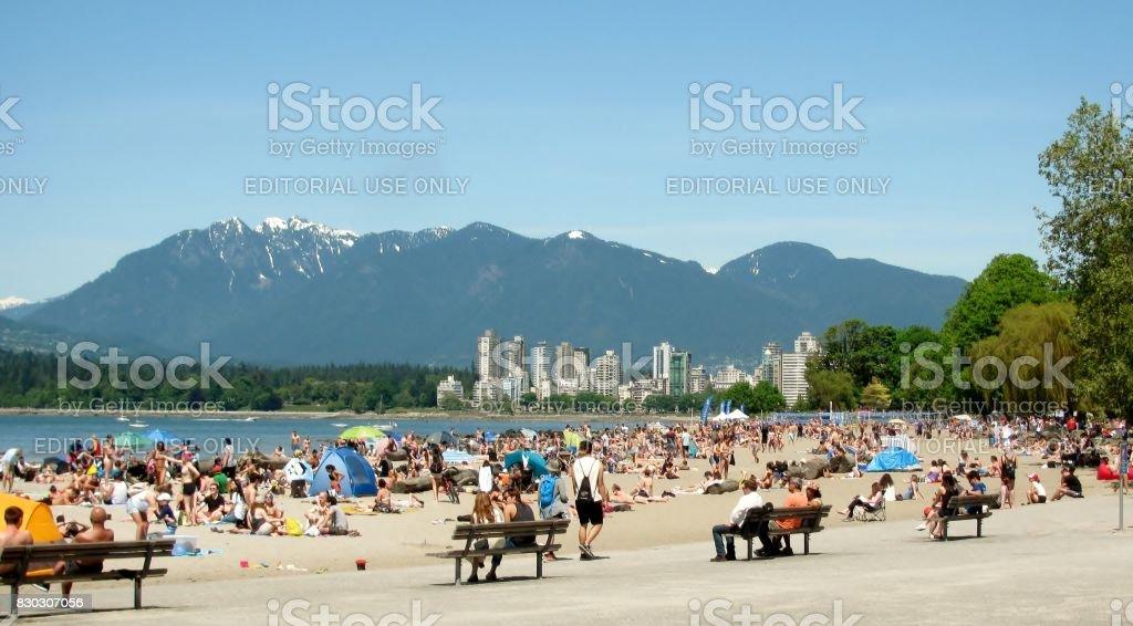 Kitsilano Beach is Vancouver's most social beach, BC, Canada stock photo