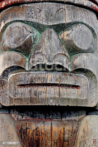 Vancouver, Canada - October 8, 2011: A totem pole in Kitsilano, a neighbourhood of Vancouver, British Columbia.