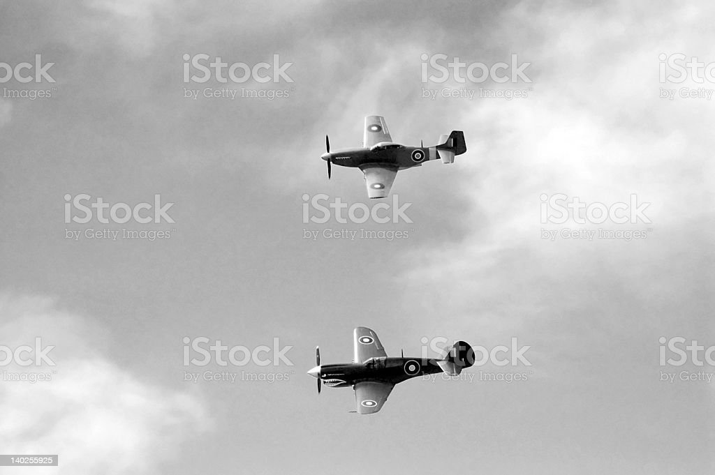 Kittyhawk & CA-18 Formation Flying (B&W) stock photo