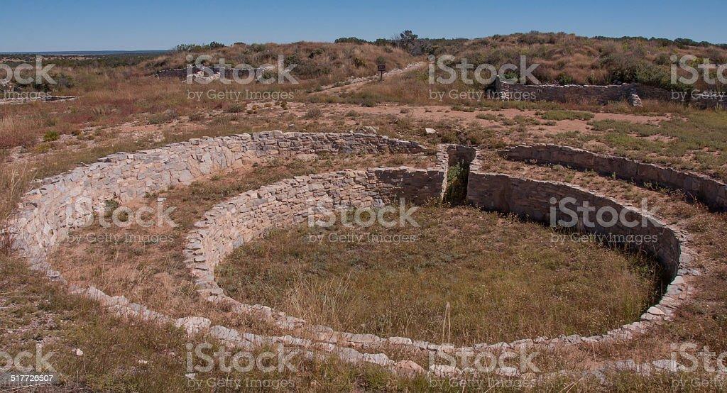 Kiva at Gran Quivira Ruins stock photo