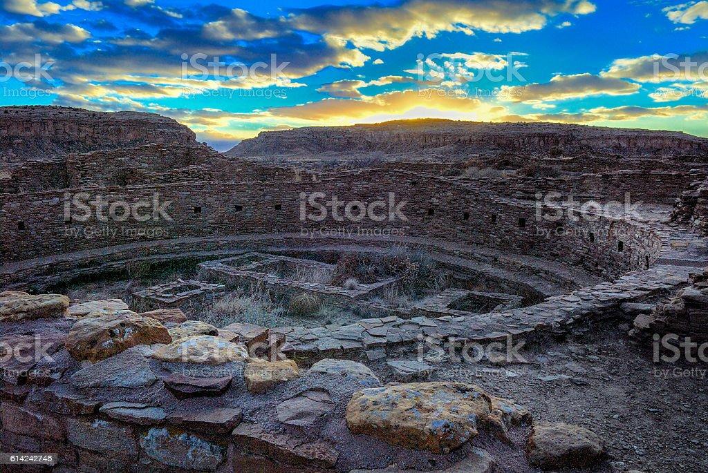 Kiva at Pueblo Bonito at sunset, Chaco Canyon stock photo