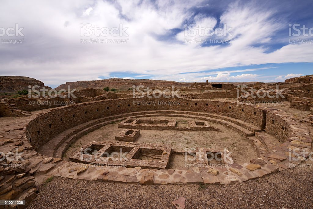 Kiva Ruins at Pueblo Bonito stock photo