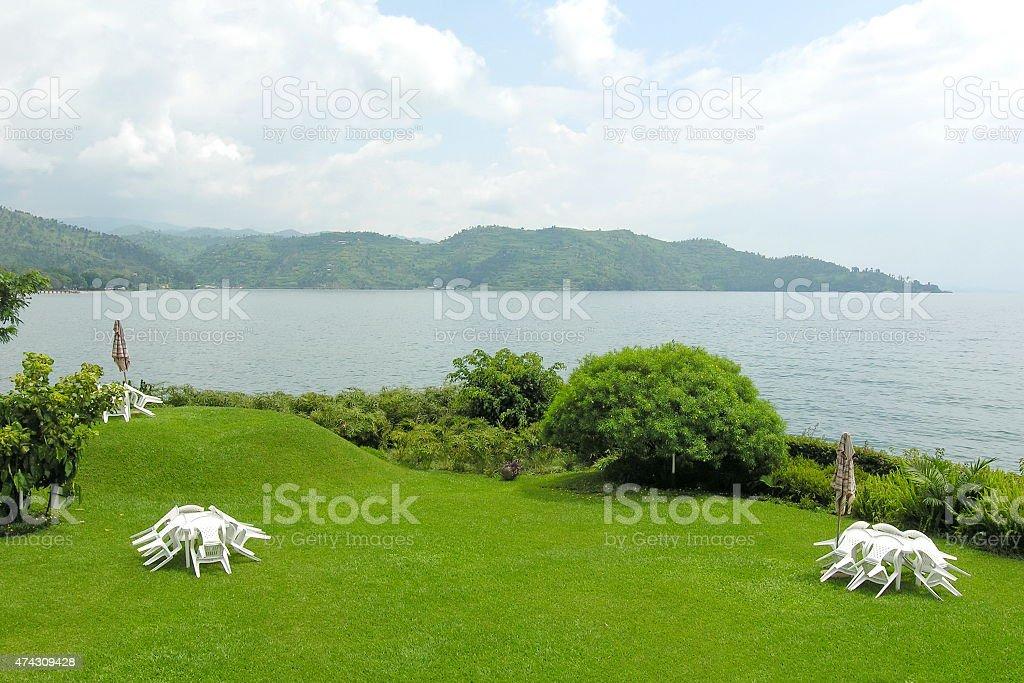 Kivu Lake shore in Gisenyi, Rwanda. stock photo