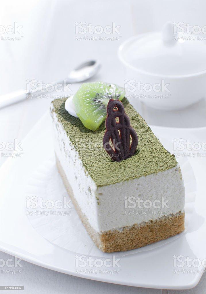 kiwi and chocolate fruit mousse cake royalty-free stock photo
