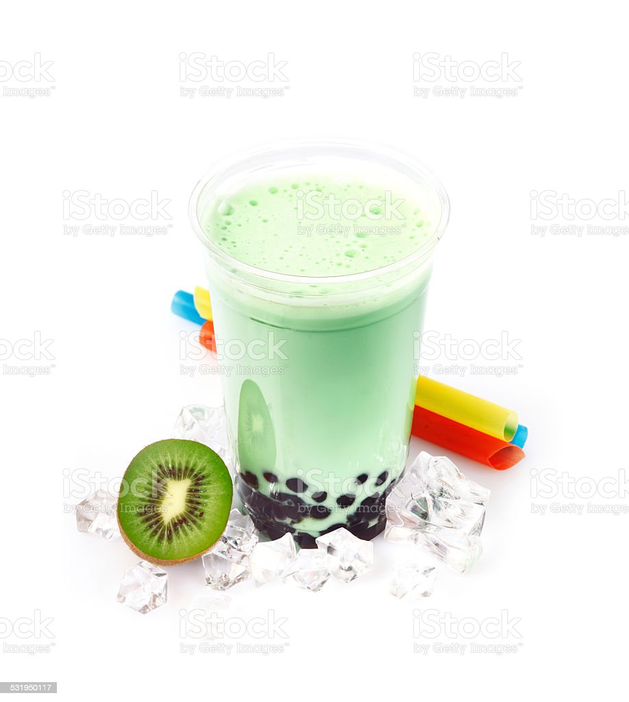 Kiwi Boba Bubble Tea stock photo