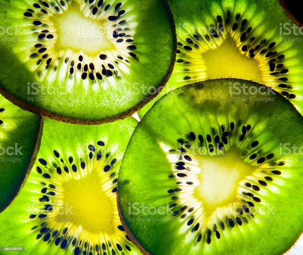Kiwi Fruit Back Lit Background Texture stock photo