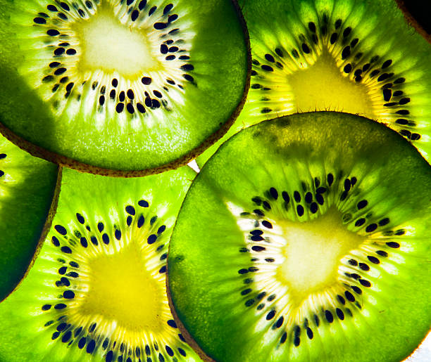 Kiwi Fruit Back Lit Background Texture stock photo