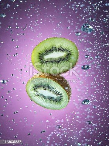 Kiwi Fruit cross section underwater
