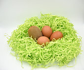 Kiwi fruit with eggs in the green paper nest on the white background as a symbol of easter for vegetarians too