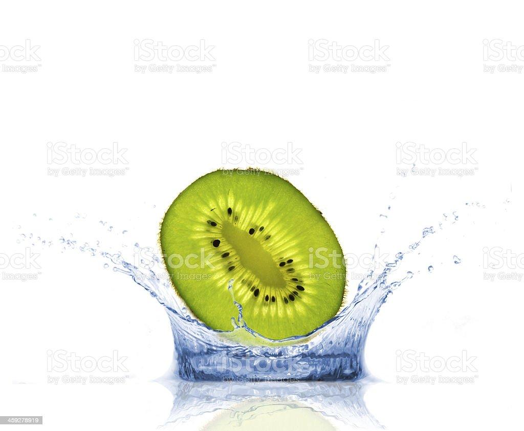 Kiwi in splash royalty-free stock photo