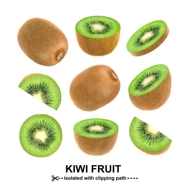 kiwi isolated on white background with clipping path. collection - kiwi imagens e fotografias de stock
