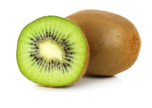 Kiwi isolated on white background, inclusive clipping path without shade.