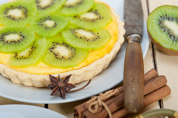 kiwi  pie tart and spices stock photo