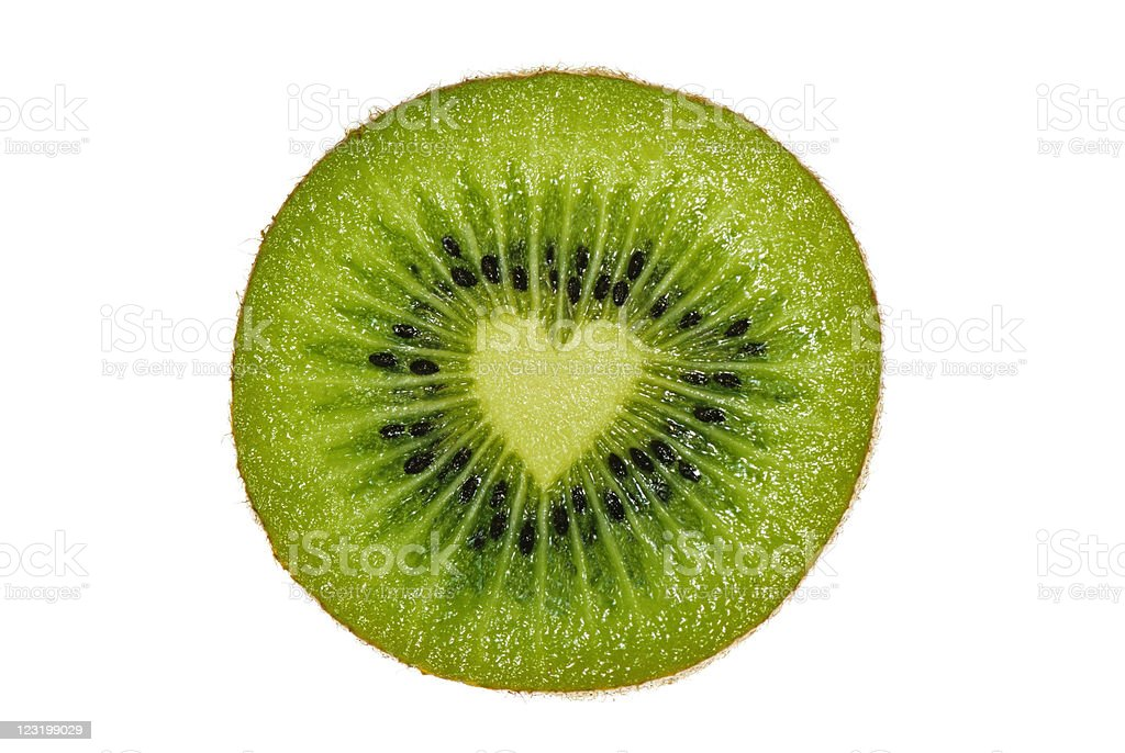 Kiwi Portion with Heart Inside Isolated on White Background stock photo