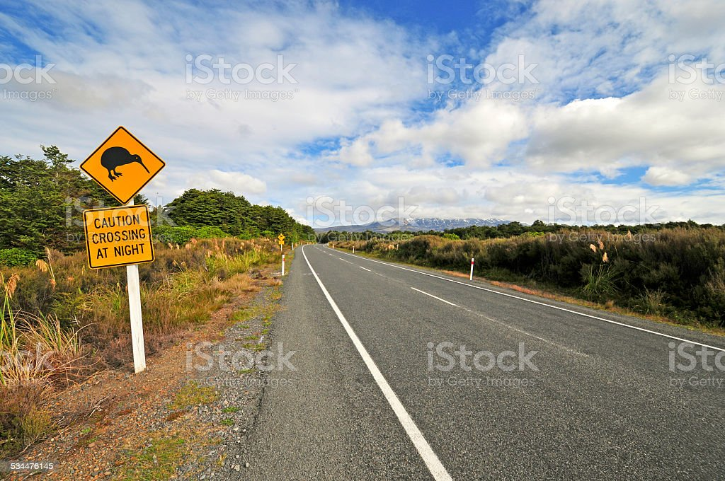 Kiwi road sign, North Island, New Zealand stock photo
