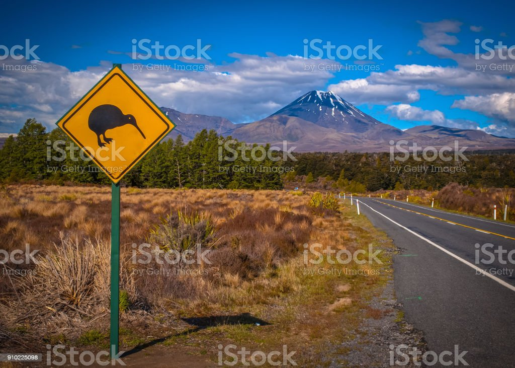 Kiwi sign in NZ landscape stock photo