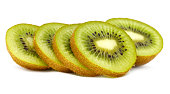 Kiwi fruit with slices isolated on white background with copy space for your text.