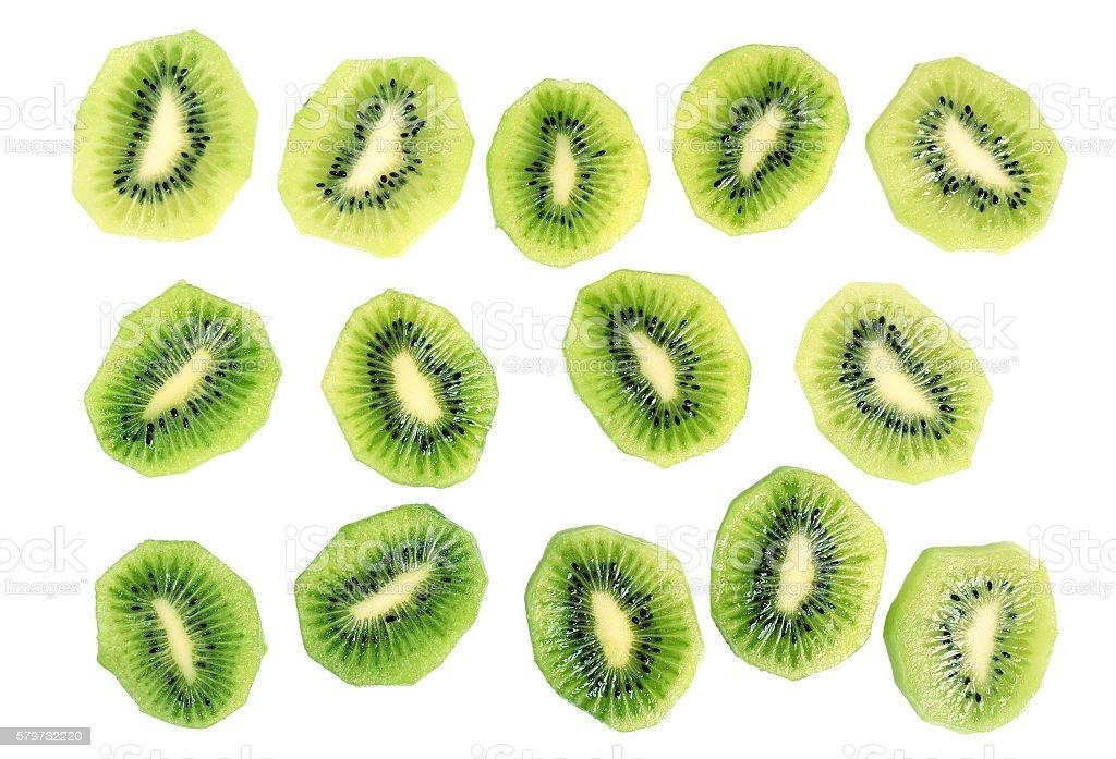 Kiwi slices (kiwifruit). Isolated on white background. stock photo