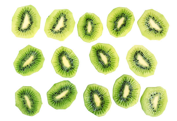 Kiwi slices (kiwifruit). Isolated on white background. stock photo