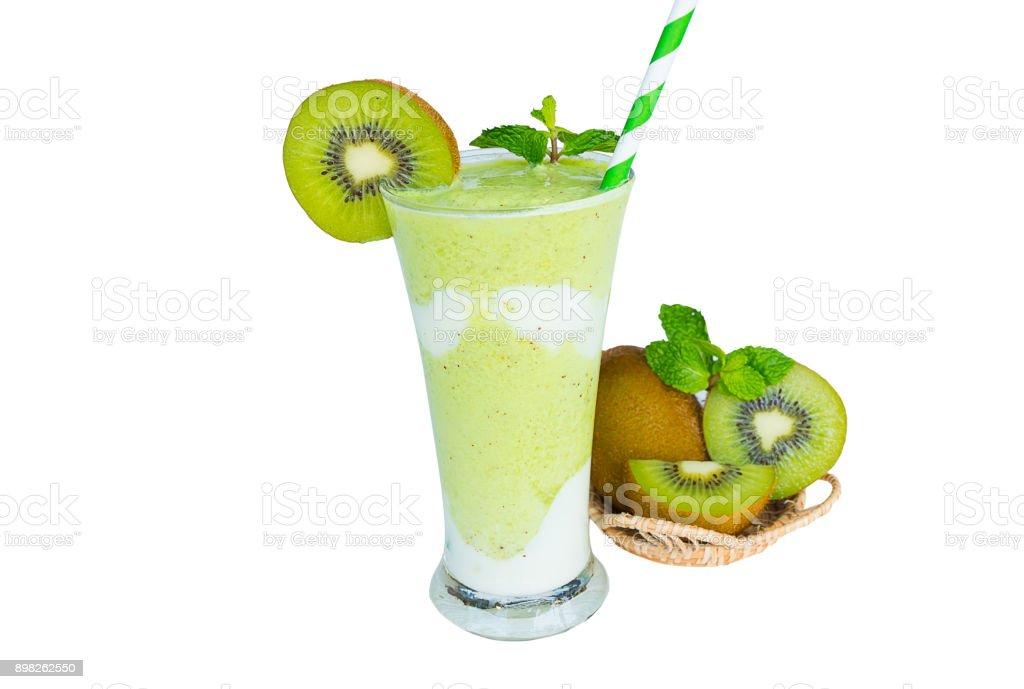 Kiwi smoothies isolated stock photo